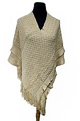 Chevron Pattern Crochet Knitted with Double Layer Sleeve fashion Fringe Poncho