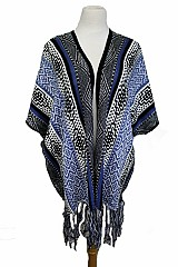 Patterned Aztec With Fringes Open Poncho