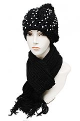 Fully Sparkled Braid Knit Beanie And chunky Scarf Set