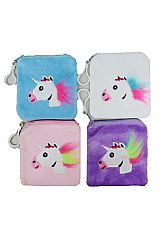 Square Soft Pouch Coin Bags With Furry Unicorn Logo