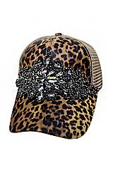 Cheetah Flower Gun Metal Crystal Rhinestone Embellished Trucker Hat