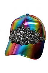 Black Gunmetal Crystal Rhinestone Applique On Reflective Rainbow Cap
