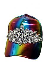 Flower Clear Crystal Rhinestone Embellished Rainbow Reflective Cap