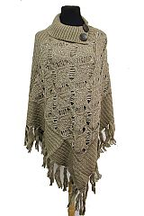 Turtle Neck Ribbed Crochet Knit With Sparkles Poncho