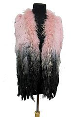 Fine Natural Feather Fur Multi Tone Dyed Vest