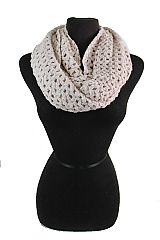 Waffle Comb Knit Crochet Pattern With Sparkle Softness Infinity Scarves