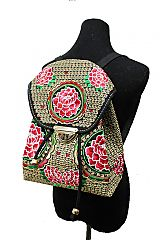 Abstract Floral Embroidered Mini Drawstring Backpack