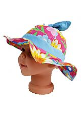 Kids Colorful Floral Knot Tie Fabric Summer Bucket Hat
