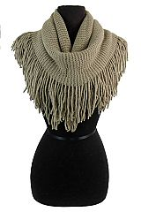Infinite Ribbed Knit with Voluminous Fringe Infinity Softness Scarves