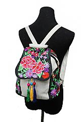 Colorful Boho Chic Floral Embroidered & Beaded Mini Back Pack