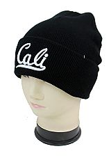 Cali Mid Center Embroidered Cuffed Street Fashion Beanie