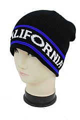 Fur Fleeced Lined Short Ribbed California Lettering Beanie