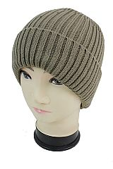 Imitated Cuff double Ribbed Knit Thick Fleece Fur Lined Beanie