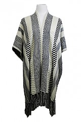 Boho Chich Brand Lined And Checkered All Over Print Midlength Closed Poncho