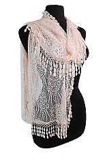 Teardrop Tassel With Over Sized Rose Knit Laced Oblong Scarves