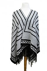 Blanket  Styled Reversible Striped And Chevron Printed With Fringe Trimmings Open Shawl Poncho