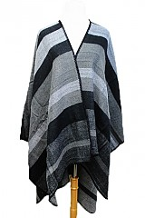 Wide Stripped All Over Print Open Poncho
