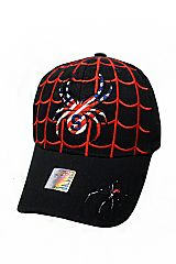 Spider Web USA color Theme Baseball Caps