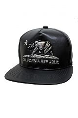 Luxury Elite Faux Leather Gun Metal Embossed California Republic Bar Snap Back