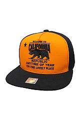 Welcome To Cali Neon Orange street Fashion snap Back