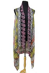 Abstract Multi Shaped And Neon Detail Softness Kimono Vest