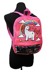 Unicorn Sequin Plush Full Size Book Back Pack