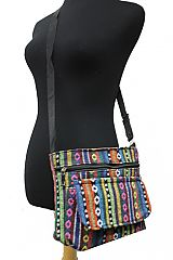 Petite Navajo Boho Printed With Beaded Wood Work Cross Over Body Bag