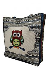 Abstract Boho and Chic Owl Patterned Woven Canvas Tapestry Tote Bag