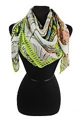 Square Cut Boho Native Feather Printed Softness Scarves