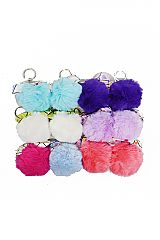 Faux Pom Pom Metallic Diamond Hologram Bow Detailed Charms