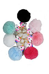 Unicorn Silicon Faux Fur Ball Key Chain