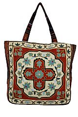 Geometric Boho and Chic Floral Patterned Woven Canvas Tapestry Tote Bag