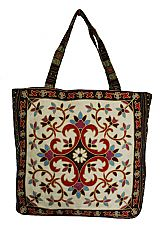 Abstract Boho and Chic Floral Patterned Woven Canvas Tapestry Tote Bag