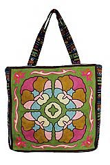 Boho and Chic Geometric Patterned Woven Canvas Tapestry Tote Bag