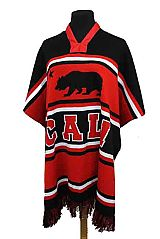 CALI Bear Design Striped Design Unisex Thick Knitted Poncho