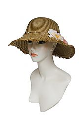 Bucket Style with Vintage Natural Floral Bead Trim Sun Hat