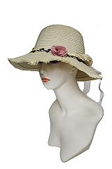 Bucket Style with Vintage Natural Floral Trim Sun Hat