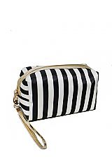 Cubic Classic Stripe Shimmered Effect Cosmetic Multi Use Pouch Bag