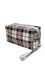 Round Plaid Glossy Designer Styled Cosmetic Bag