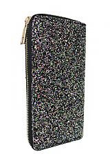 AB Colored Metallic Glitter Fashion Wallet with Gold Zipper Closure