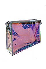 Transparent Iridescent Colored and Glossed Make Up Pouch Bag