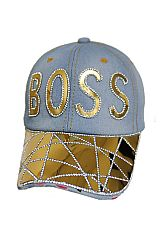BOSS Gold Plated And Bling Bling Stone Denim Distressed Cap