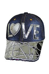 Silver Metallic LOVE Bling Bling Stone Cap Distressed Cap