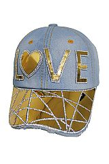 Love Gold Mirror Sparkle Bling Bling Fashion Denim Cap