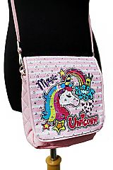 Unicorn Glitter Plush Pink Cross Body Bags