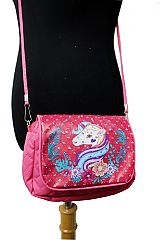 Unicorn Printed With Silver Glitter Plush Double Zipper Cross Body Bag