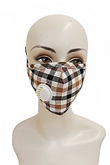 Gingham Checkered Cotton Fabric Washable Face Mask with Ear Loops and a Valve