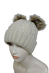 Double Ear Pom Pom Detach Knitted Braid Cuffed Fashion Beanie