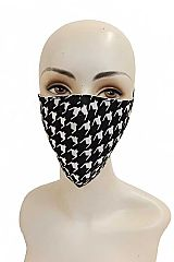 Houndstooth Printed Cotton Fabric Washable Face Mask with Ear Loops