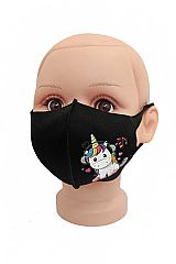 Kids Animated Unicorn Print Washable and Elastic Black Colored Polyester Sewing Face Mask